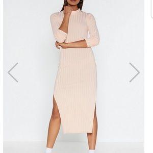 Slit Your Stide Ribbed Midi Dress